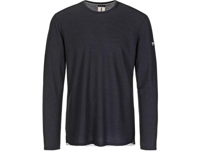super.natural Piquet LS Shirt Herren blue black/denim bleach melange
